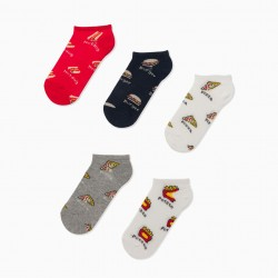 5 PAIRS OF 'FAST FOOD' BOY INVISIBLE SOCKS, MULTICOLOR