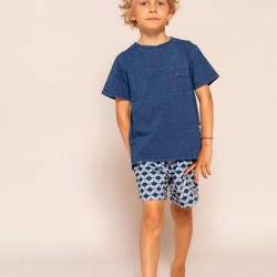 PATTERNED BOARDSHORTS FOR BOYS, BLUE