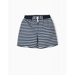 STRIPED BOARDSHORTS FOR BOYS 'ANTI-UV 80', BLUE / WHITE