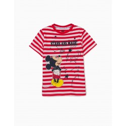 STRIPED T-SHIRT FOR BOYS 'MICKEY STARS', RED / WHITE