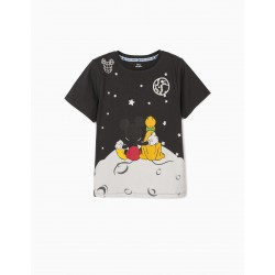 T-SHIRT FOR BOY 'MICKEY & PLUTO IN SPACE', DARK GRAY