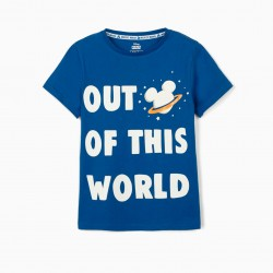 'MICKEY OUT OF THIS WORLD' T-SHIRT FOR BOYS, BLUE