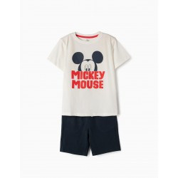 'MICKEY' T-SHIRT AND SHORTS FOR BOY, WHITE AND BLUE