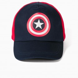 CAPTAIN AMERICA CAP FOR BOYS, BLUE / RED