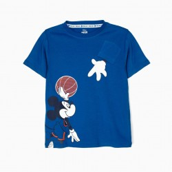 'MICKEY BASKETBALL' T-SHIRT FOR BOYS, BLUE