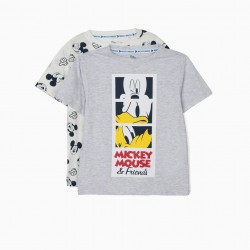 2 T-SHIRTS FOR BOYS 'MICKEY & FRIENDS', WHITE AND GRAY