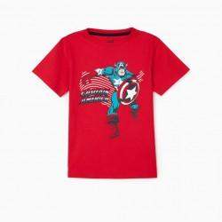 'CAPTAIN AMERICA' BOY'S T-SHIRT, RED