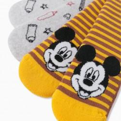 2 PAIR 'MICKEY' BOY'S ANTI-SLIP SOCKS, GREY/YELLOW