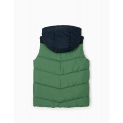 BOY'S QUILTED HOODED VEST, BLUE/GREEN/GREY