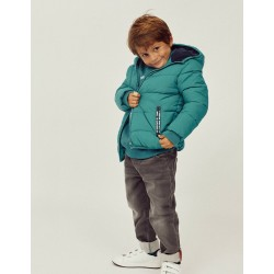 BOY'S QUILTED HOODED JACKET, TURQUOISE BLUE