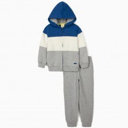 ZY 1996' TRACKSUIT FOR BOYS, GRAY / BLUE / WHITE
