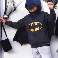 BATMAN' MASK-HOODED WINGS FOR BOYS, GRAY / BLUE
