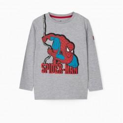 'SPIDER-MAN' BOY'S LONG SLEEVE T-SHIRT, GRAY