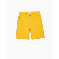 BOYS' CHINO SHORTS, YELLOW