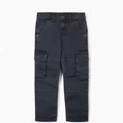 CARGO PANTS FOR BOYS, BLUE