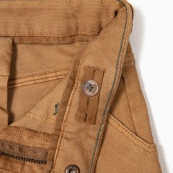 B&S TEXTURED PANTS FOR BOYS, CAMEL
