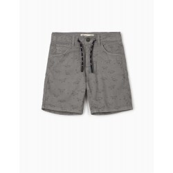 PATTERNED SHORTS FOR BOYS 'DINOSAURS', GRAY