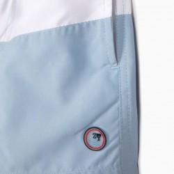 ANTI-UV 80 'STRIPES' BOY SWIM SHORTS, BLUE AND WHITE