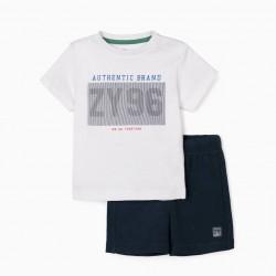 BABY BOY T-SHIRT AND SHORTS 'ZY 96', WHITE/DARK BLUE