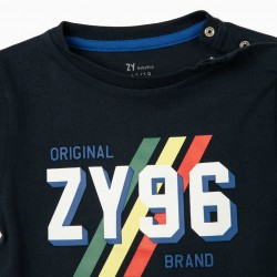 BABY BOY T-SHIRT AND SHORTS 'ZY 96', DARK BLUE/RED