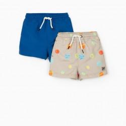 2 BABY BOY SWIM SHORTS 'PLANETS', BEIGE/BLUE