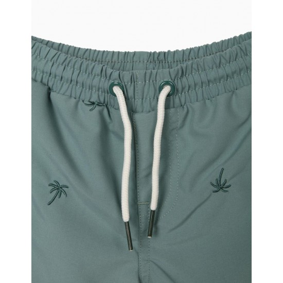 BABY BOY SWIM SHORTS WITH EMBROIDERY, GREEN