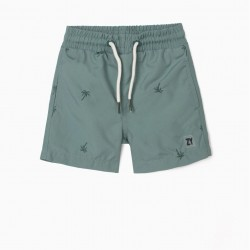 BABY BOY SHORTS WITH EMBROIDERY, GREEN