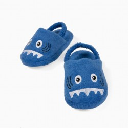 BABY BOY 'SHARK' SLIPPERS, BLUE
