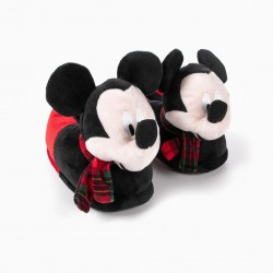 MICKEY CHRISTMAS SLIPPERS FOR BOYS, BLACK / RED