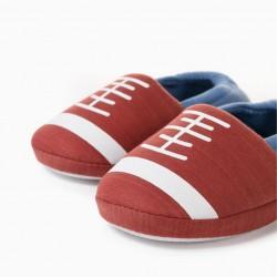 BOY'S AMERICAN FOOTBALL SLIPPERS, BROWN/BLUE