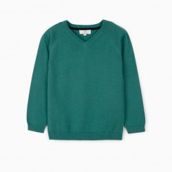 KNITTED SWEATER FOR BOYS, BLUE GREEN