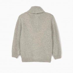 B&S' WOOL JACKET FOR BOYS, GRAY