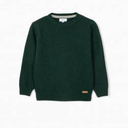 B&S' WOOL SWEATER FOR BOYS, GREEN