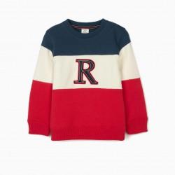 SWEATSHIRT FOR BOYS 'R', BLUE / WHITE / RED
