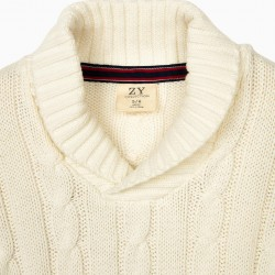 KNITTED SWEATER FOR BOYS, WHITE