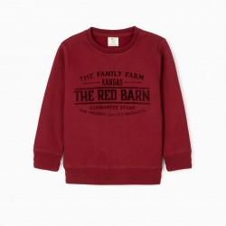 'THE RED BARN' BOY'S SWEATSHIRT, BURGUNDY