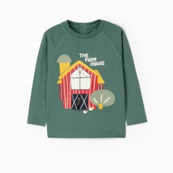 'FARM HOUSE' BABY BOY LONG SLEEVE T-SHIRT, GREEN