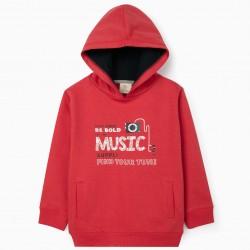 'MUSIC' BOY'S HOODED SWEATSHIRT, RED