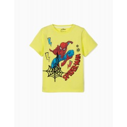 T-SHIRT FOR BOY 'SPIDER-MAN', LIME YELLOW