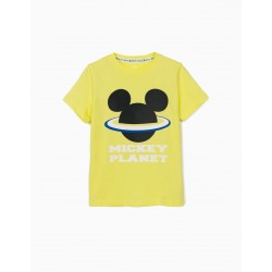 T-SHIRT FOR BOY 'MICKEY PLANET', LIME YELLOW