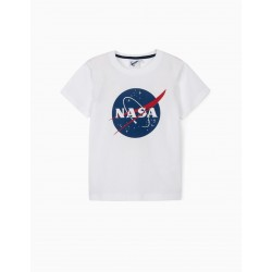 T-SHIRT FOR BOY 'NASA', WHITE