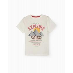 EXPLORE CAIRO T-SHIRT FOR BOYS, WHITE