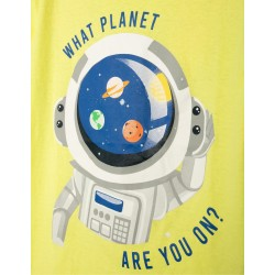 T-SHIRT FOR BOY 'WHAT PLANET ARE YOU?', LIME YELLOW