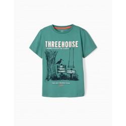 TREEHOUSE CLUB T-SHIRT FOR BOY, GREEN