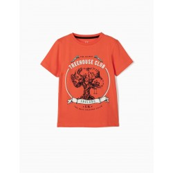 TREEHOUSE T-SHIRT FOR BOY, CORAL