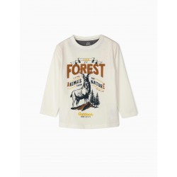 FOREST LONG SLEEVE T-SHIRT FOR BOY, WHITE €