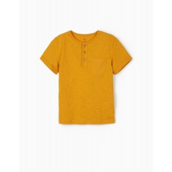 T-SHIRT WITH BUTTONS FOR BOYS, DARK YELLOW