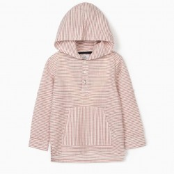 BOY'S HOODED SHIRT, WHITE / RED