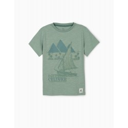 T-SHIRT FOR BOYS, 'EGYPTIAN CULTURE', TEAL