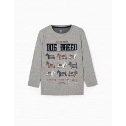 BOY'S LONG SLEEVE T-SHIRT 'DOG BREED', GRAY